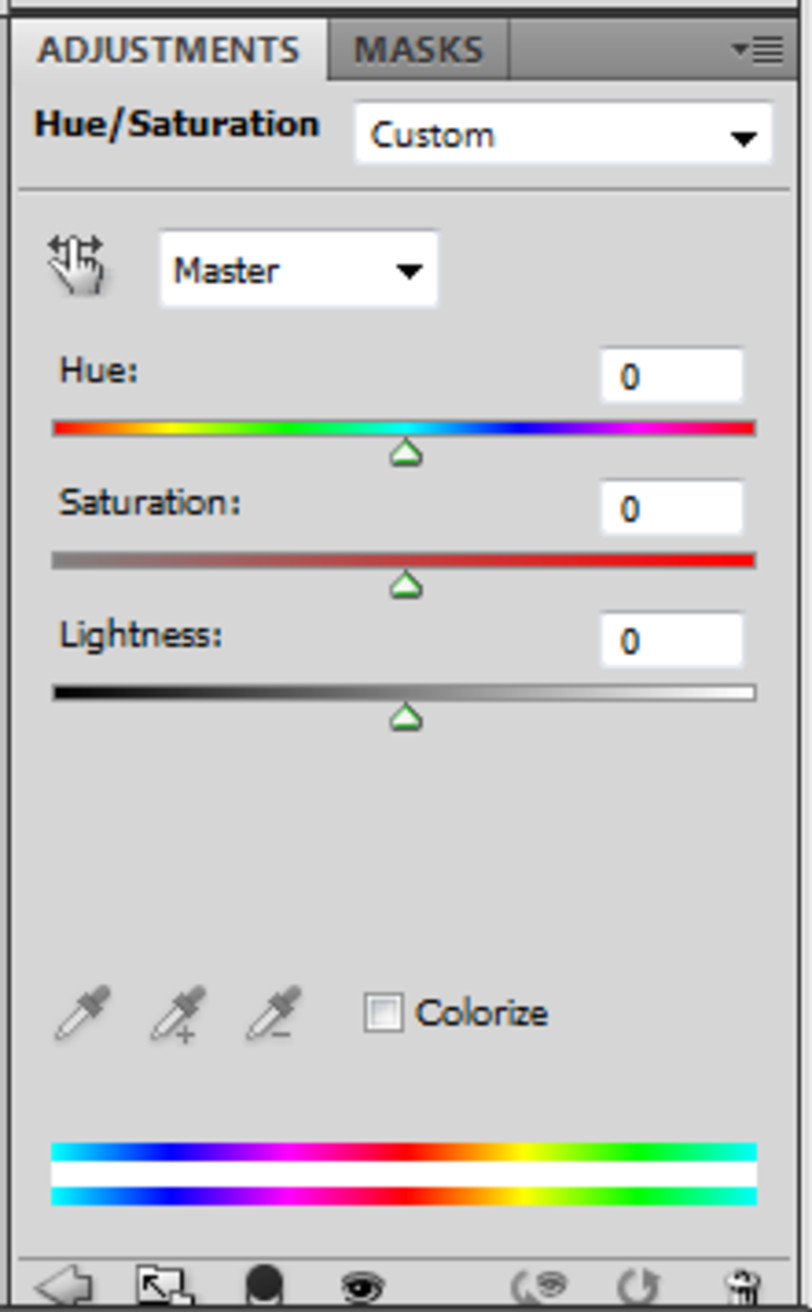 This is what a hue/adjustment panel looks like.