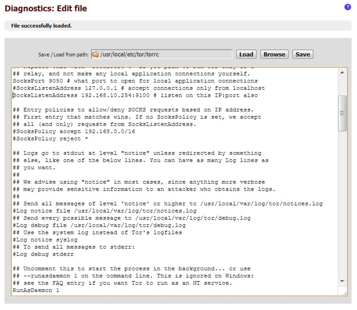 Editing the Tor configuration file using the text editor in the web interface.