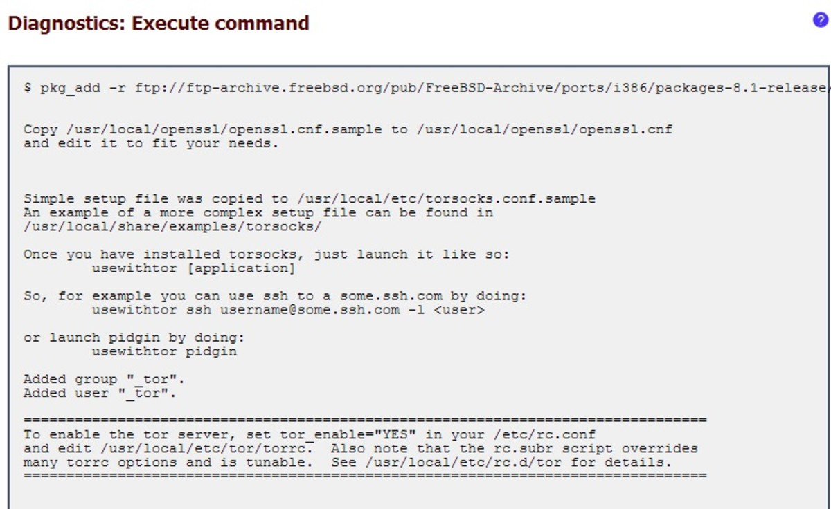 Installing the Tor package using the pkg_add command through the command prompt.