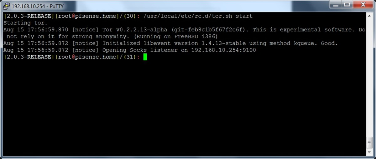 Starting the Tor service using the startup script.