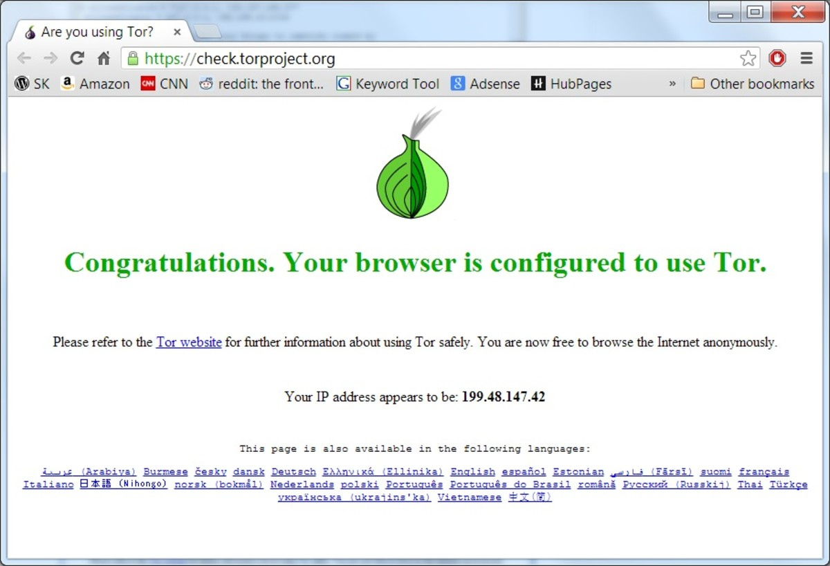 Confirming Tor is working using the online test page.