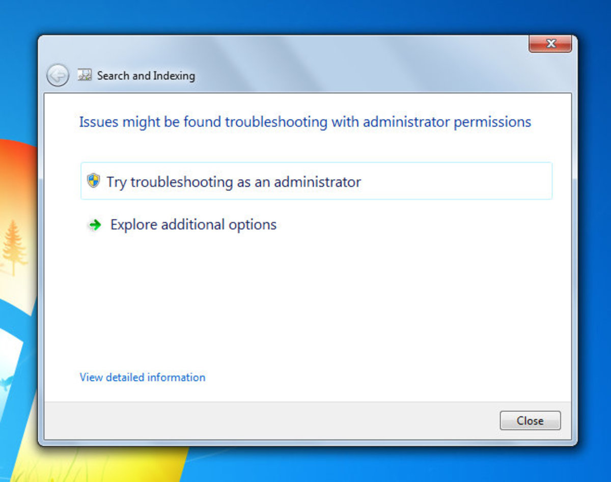how to fix search feature windows 7