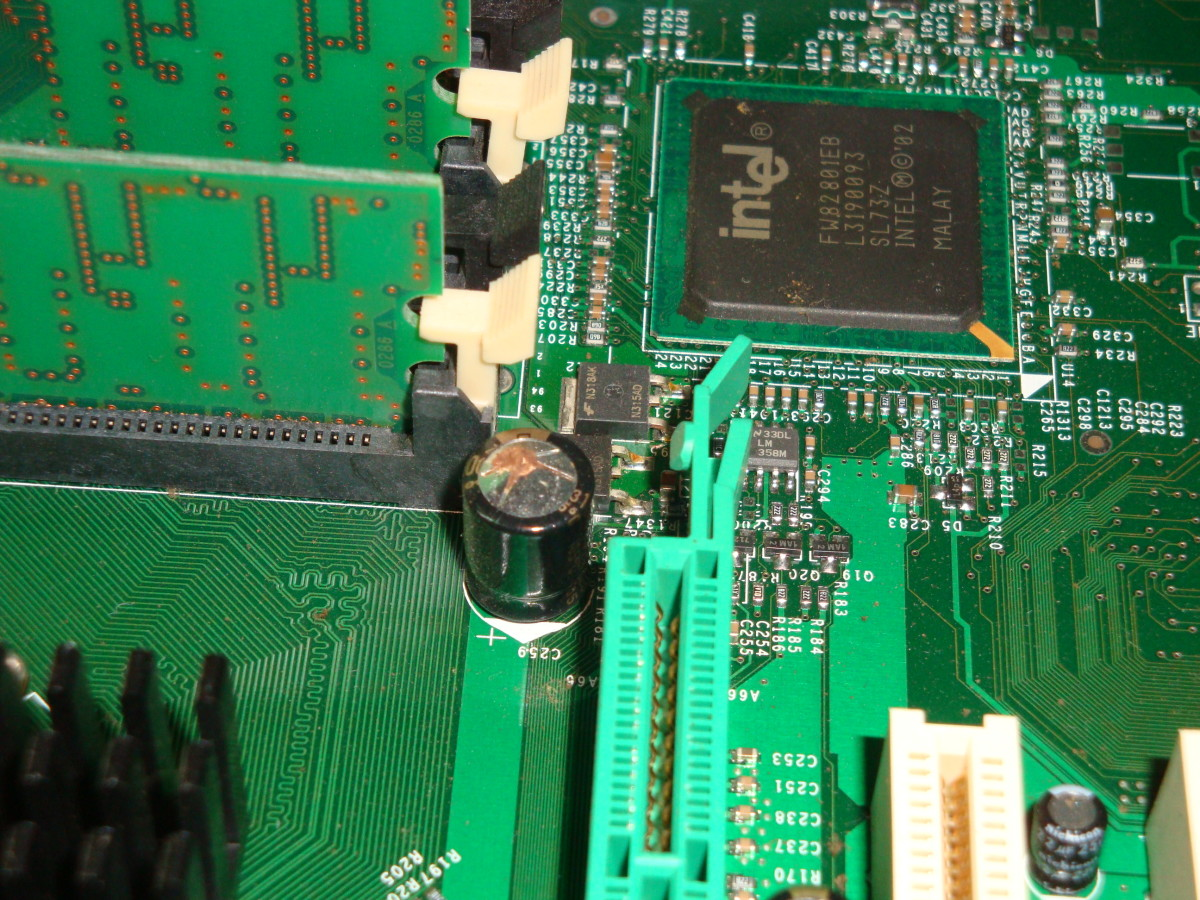 A bad capacitor on a motherboard