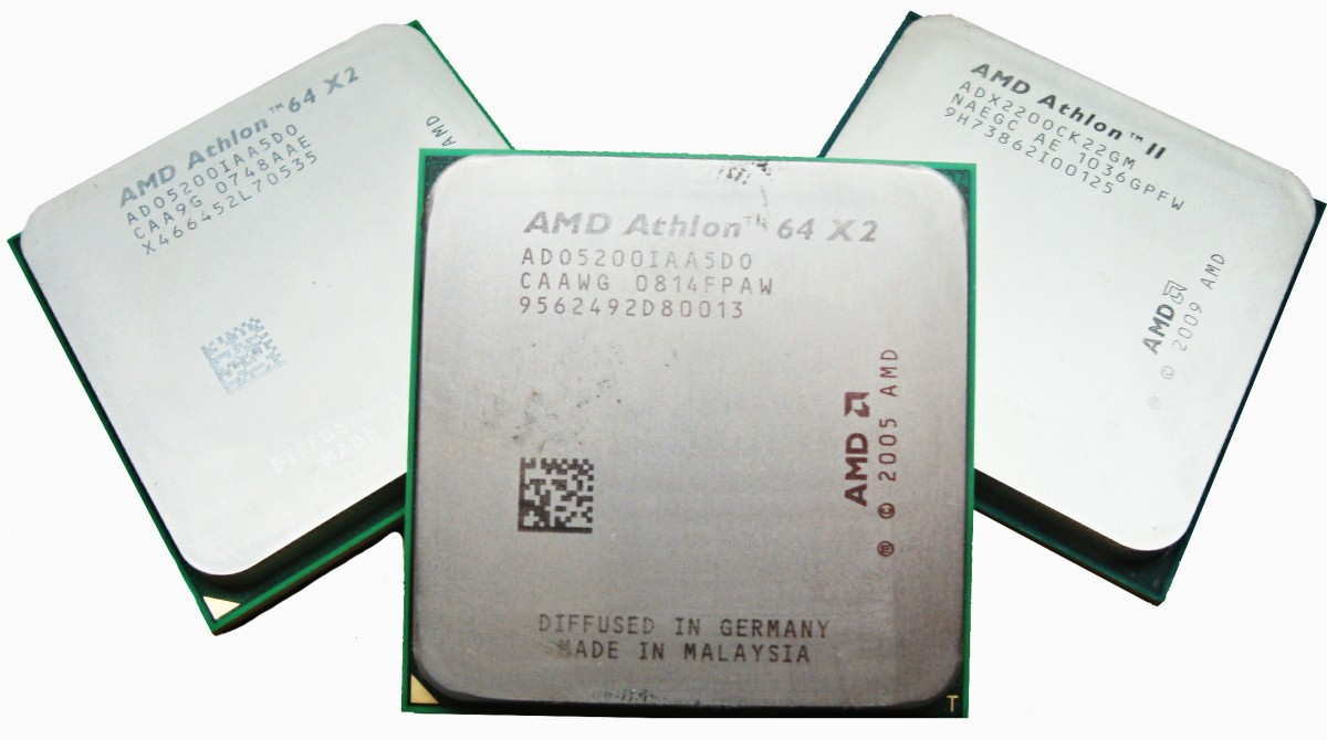 Processors made by AMD, Advanced Micro Devices. AMD is the second largest manufacturer of microprocessors, smaller only than Intel.