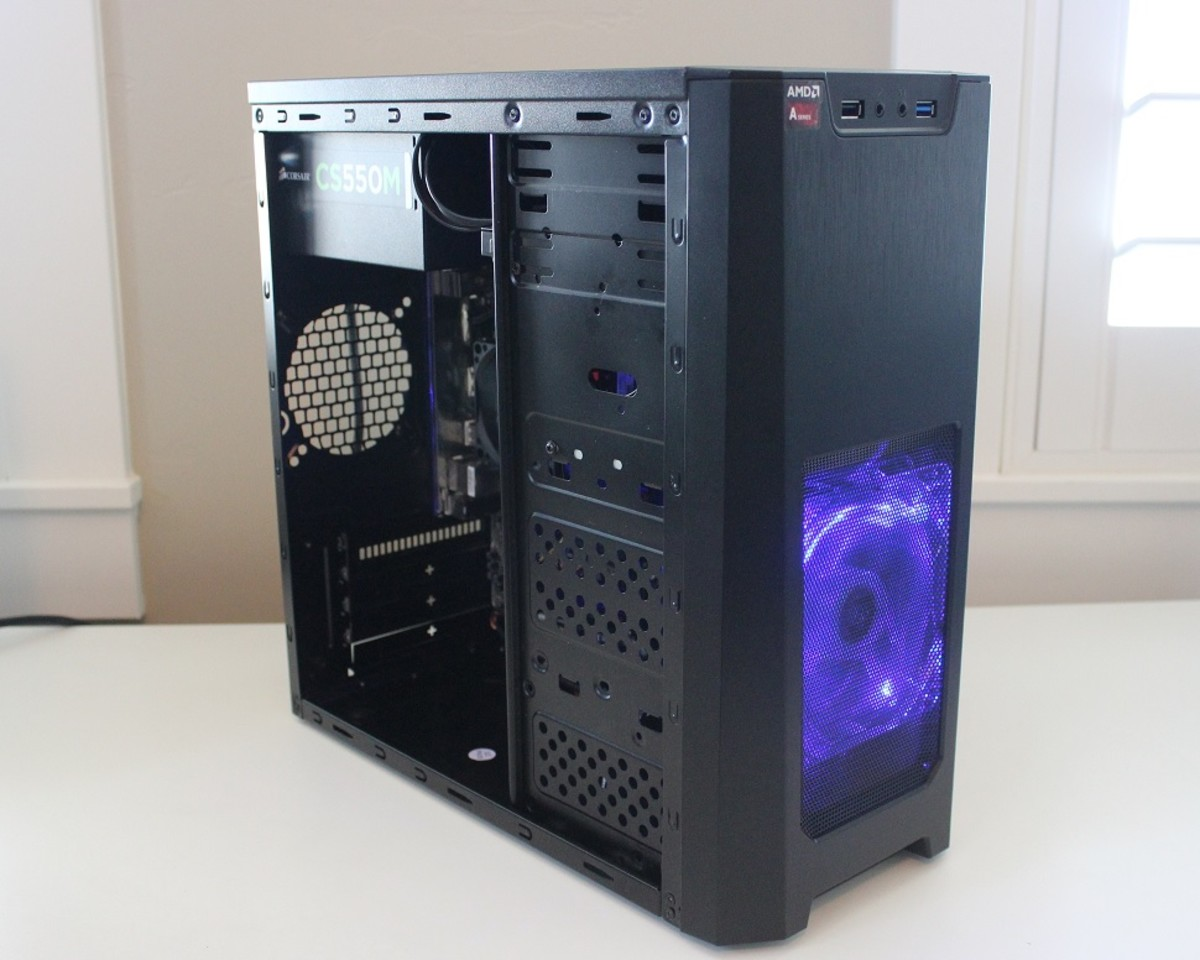 I've used the Xion mATX case on a number of builds. For $20, you get a solid base and a blue LED fan.