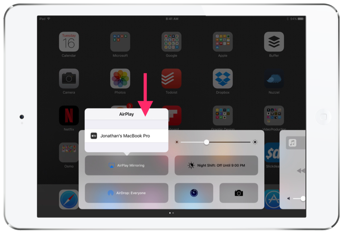 Connecting to a Mac or PC via AirPlay
