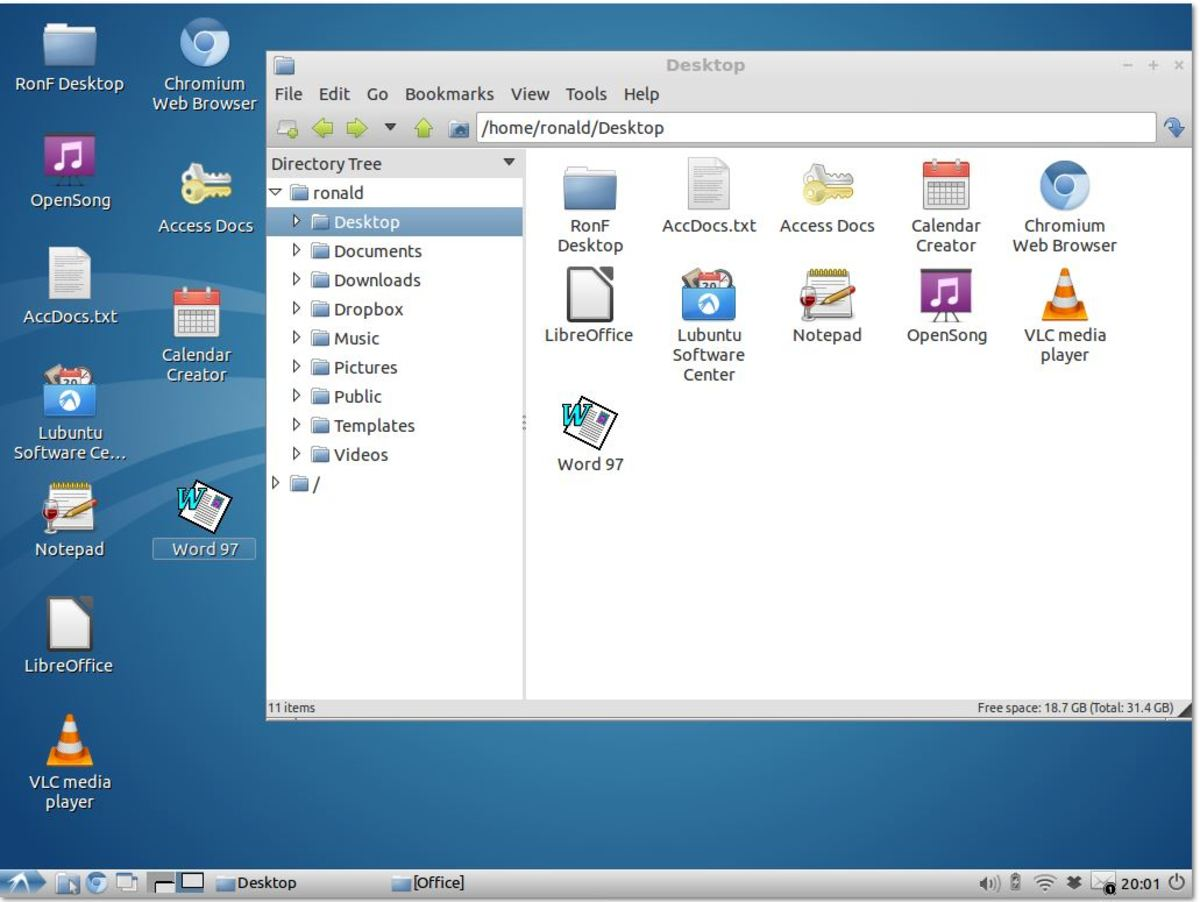 Lubuntu desktop with one open window. The arrow at bottom left functions like the WinXP Start button