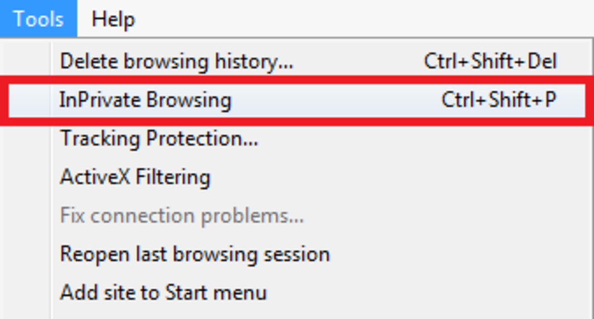 Figure 2. You will find the InPrivate Browsing option under Tools in the main toolbar.