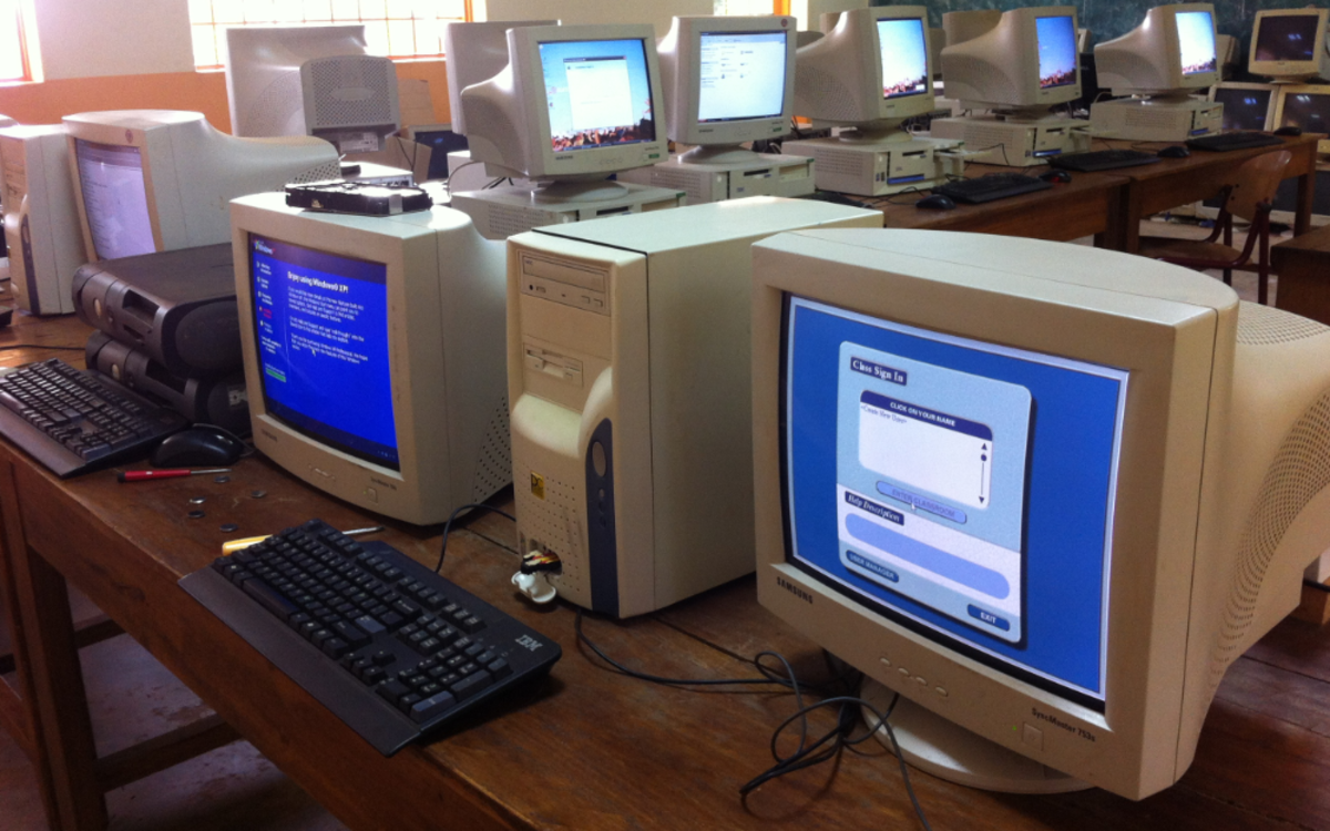 A collection of old CRT monitors. The CRT monitor is an output device