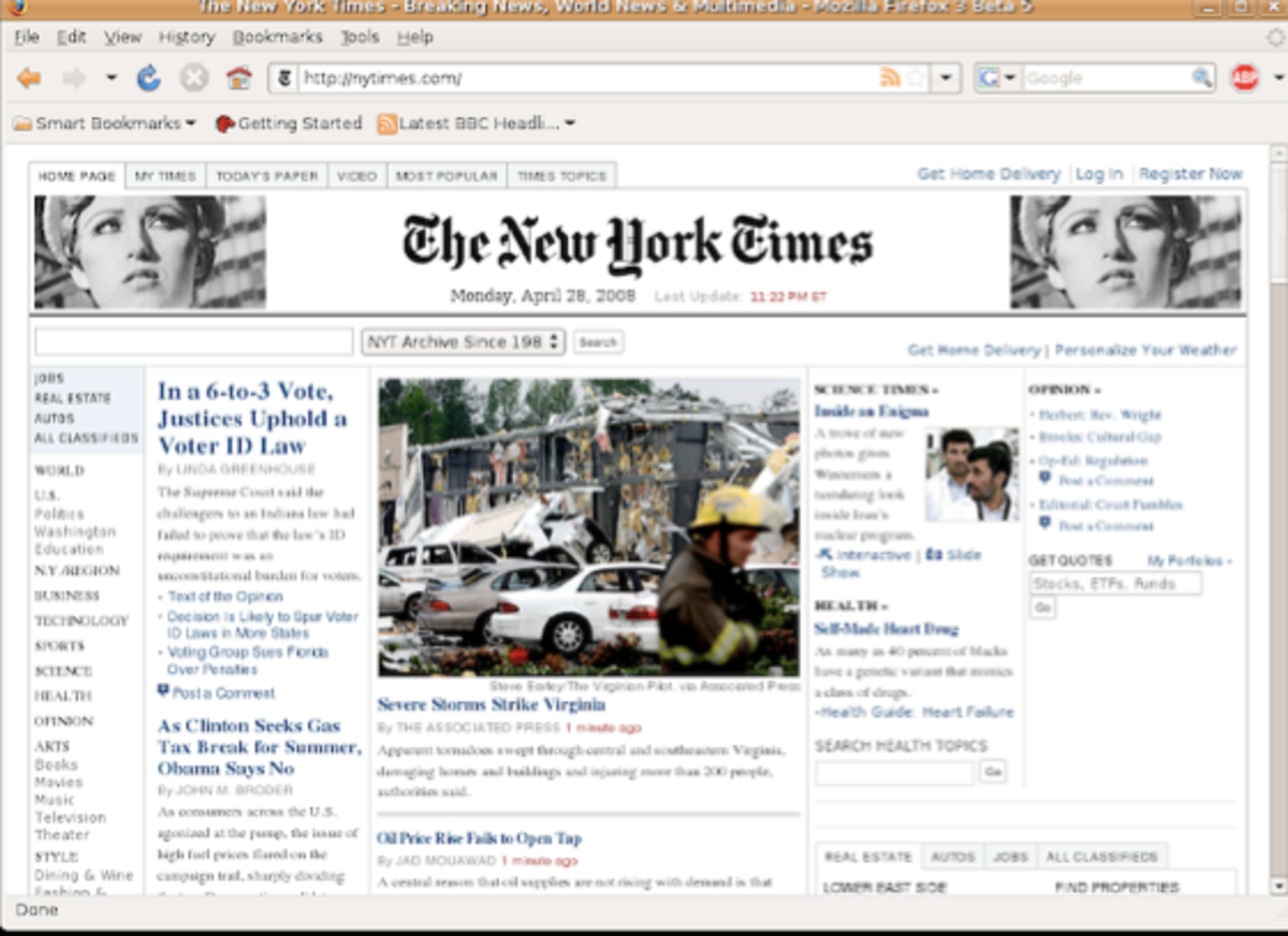 Example contemporary art seen in the top banner of the New York Times
