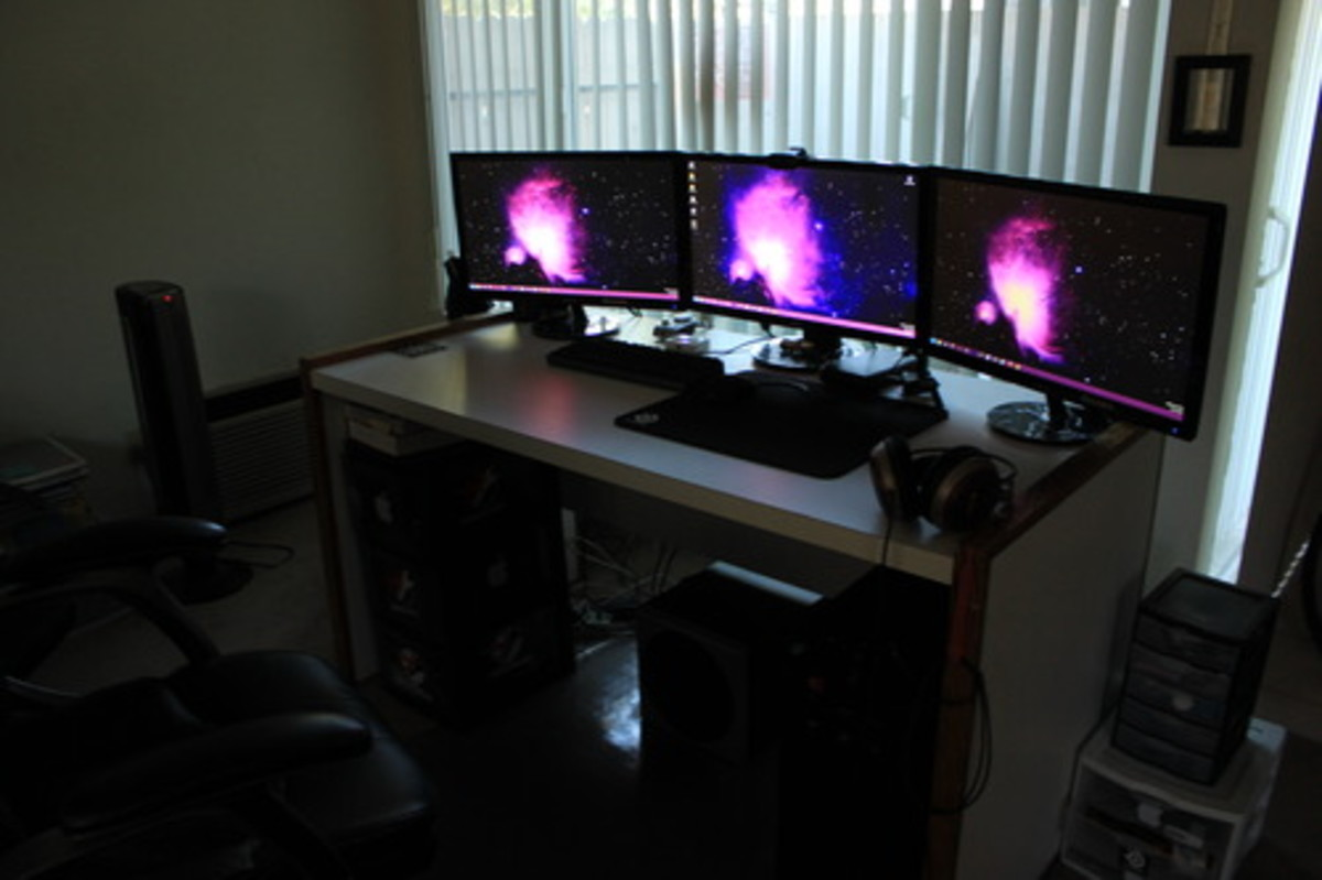 Another look at a triple monitor setup of the Asus VS248H-P. This inexpensive setup saves me quite a bit of time while working and looks great too.