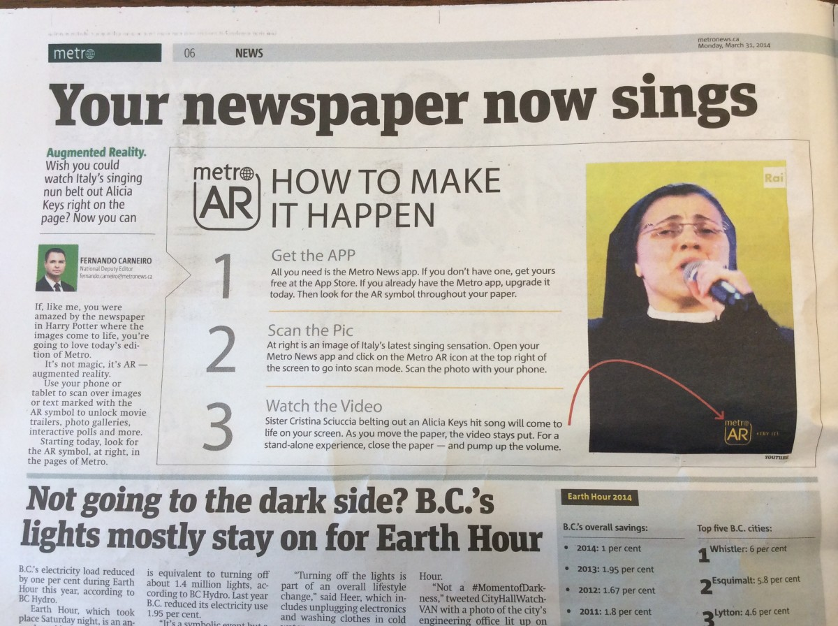 A photo of Sister Cristina Scuccia on a Metro demonstration page of newspaper AR