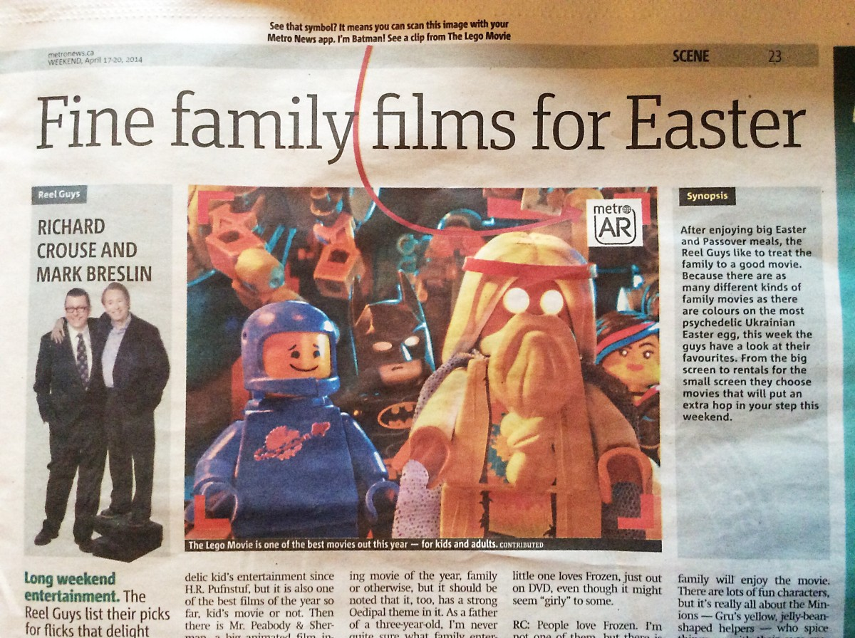 The Metro newspaper contains a photo and a description of The Lego Movie.