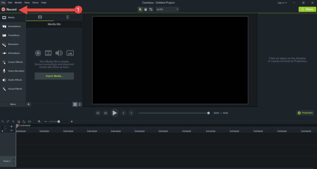 Camtasia Recording Process, Step 1: Click Record
