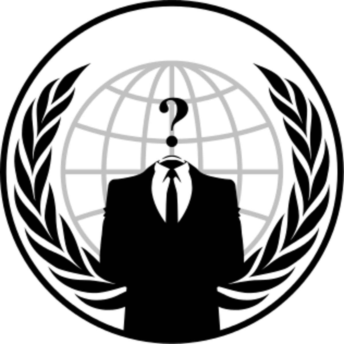 The logo for the Anonymous hacking collective.