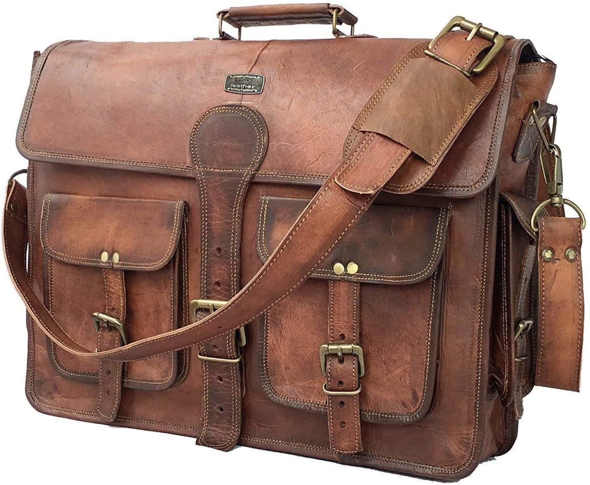 The DHK 18 Inch Vintage Handmade Leather Messenger Bag Laptop Briefcase Computer Satchel bag For Men.