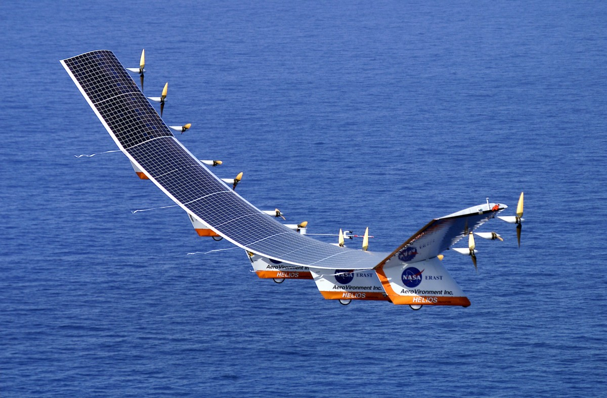 Photograph captured Helios in flight over the Atlantic ocean.