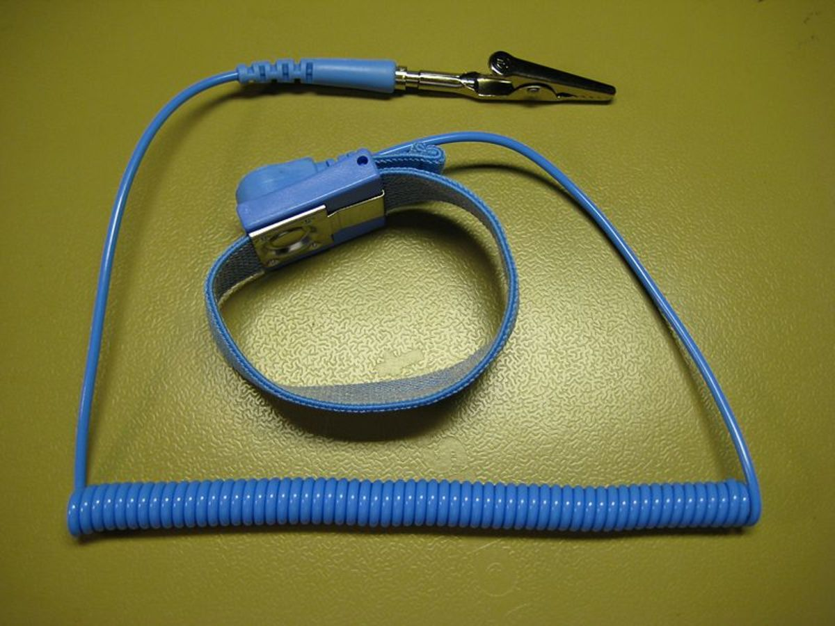 Antistatic wrist strap with a crocodile clip for connecting to ground