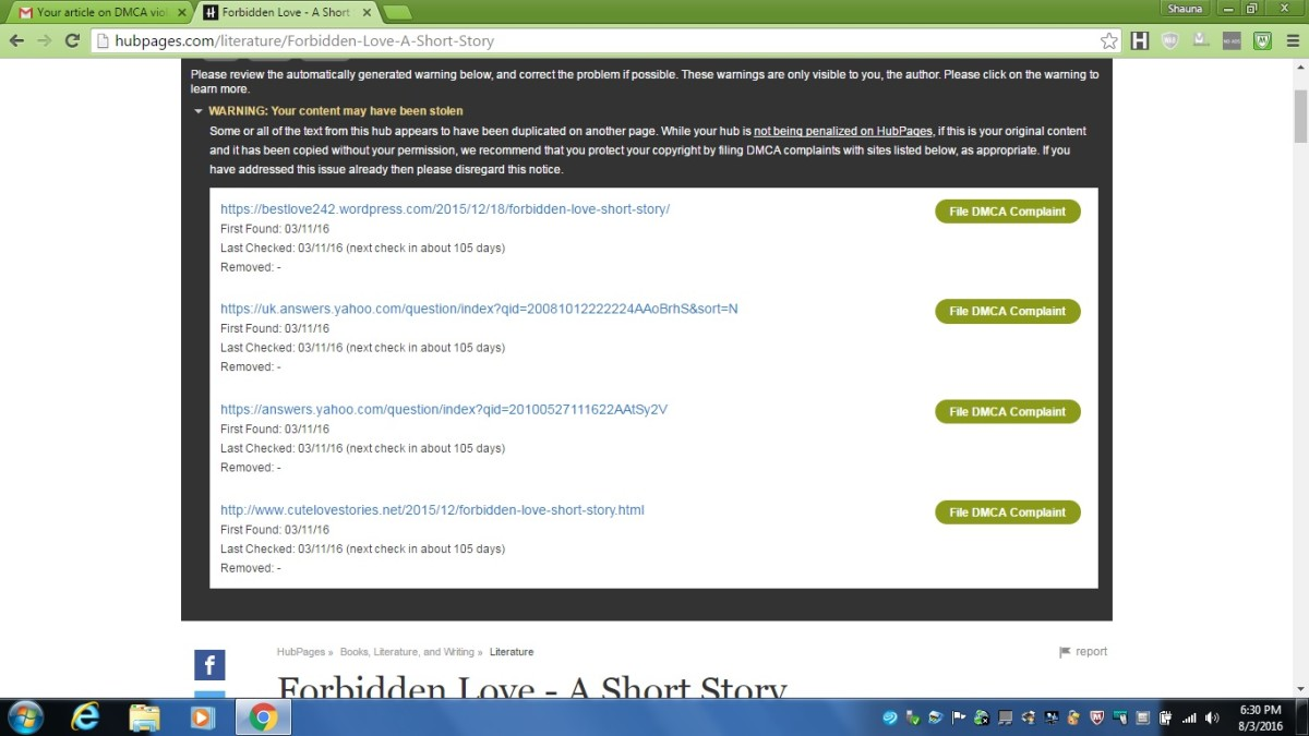 My short story was stolen and posted in four different places on WordPress blogs