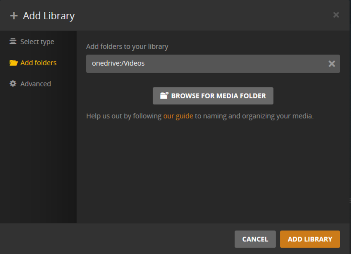 "Click ""Add Library"" to confirm that you want to add that folder to your Plex Cloud."