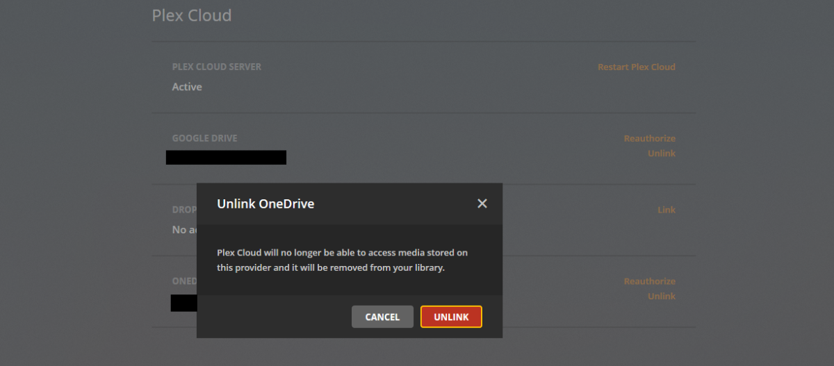 "Click ""Unlink"" when you receive a warning that you'll no longer be able to access OneDrive content through Plex Cloud."