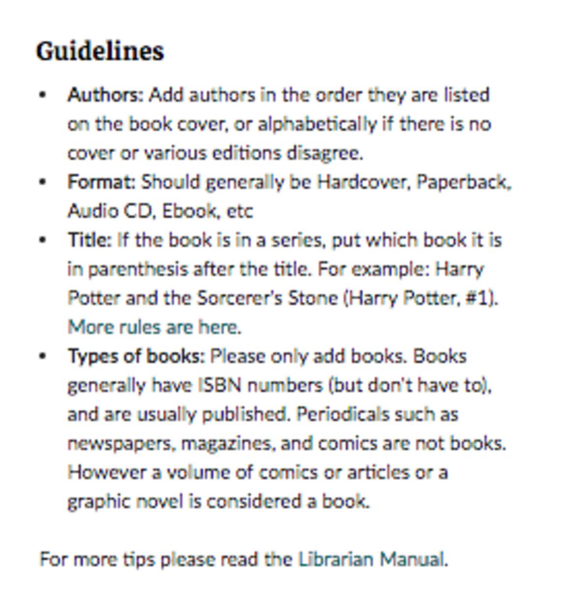 Goodreads guidelines to add a new book