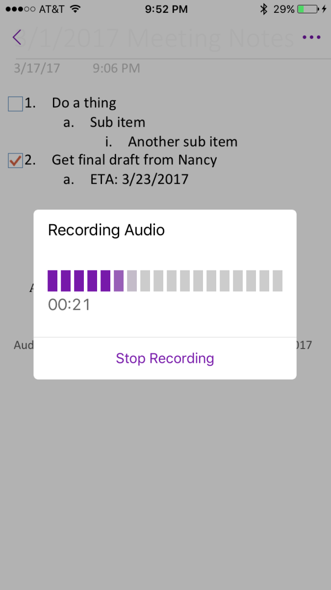 Tap the microphone icon to start recording.