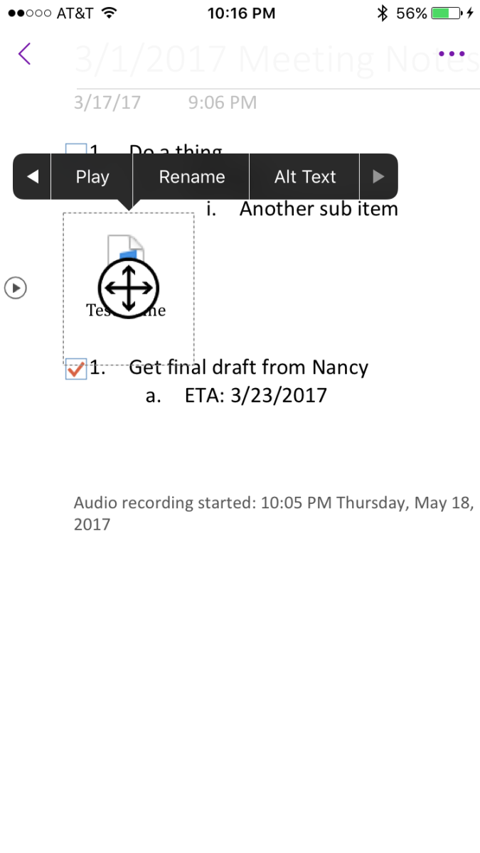 "Tap the audio file icon, and then tap ""Alt Text."""