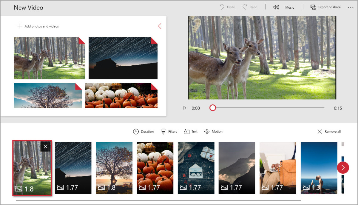 The Windows Photos App has a nice, clean interface for creating video