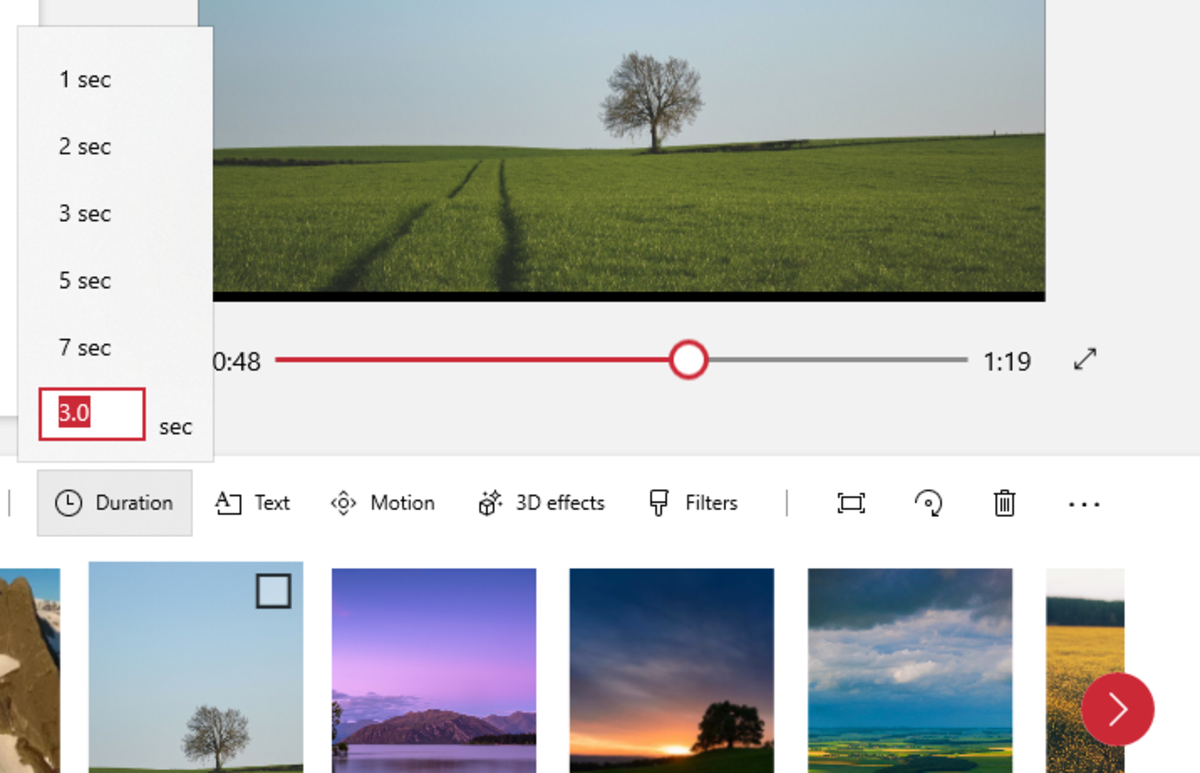 Adjust the duration of photos to match the story you are telling
