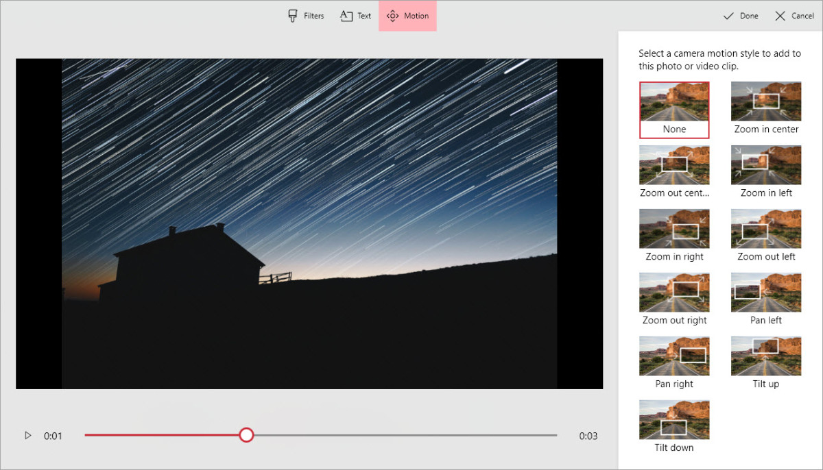 The Motion options in the free Windows 10 video editor