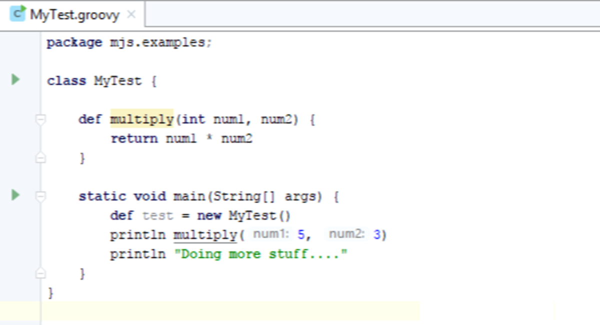 Another simple Groovy source file for the next example.