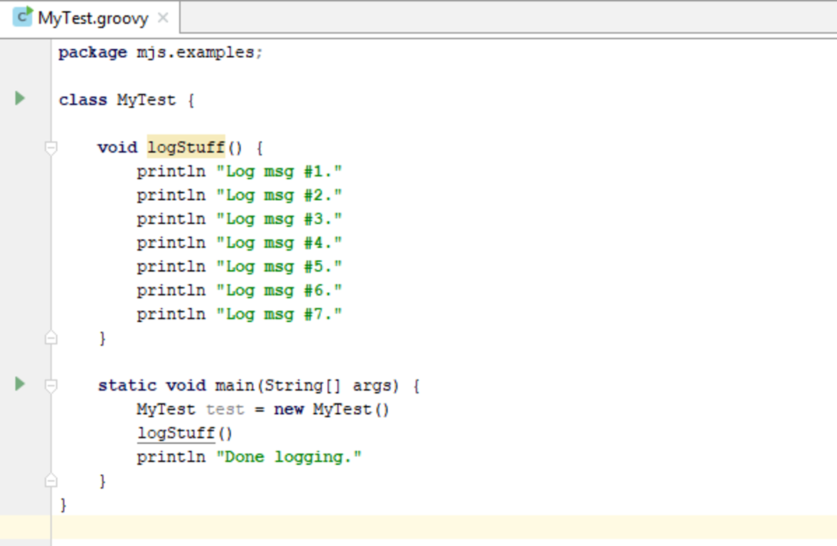 The simple Groovy class file.
