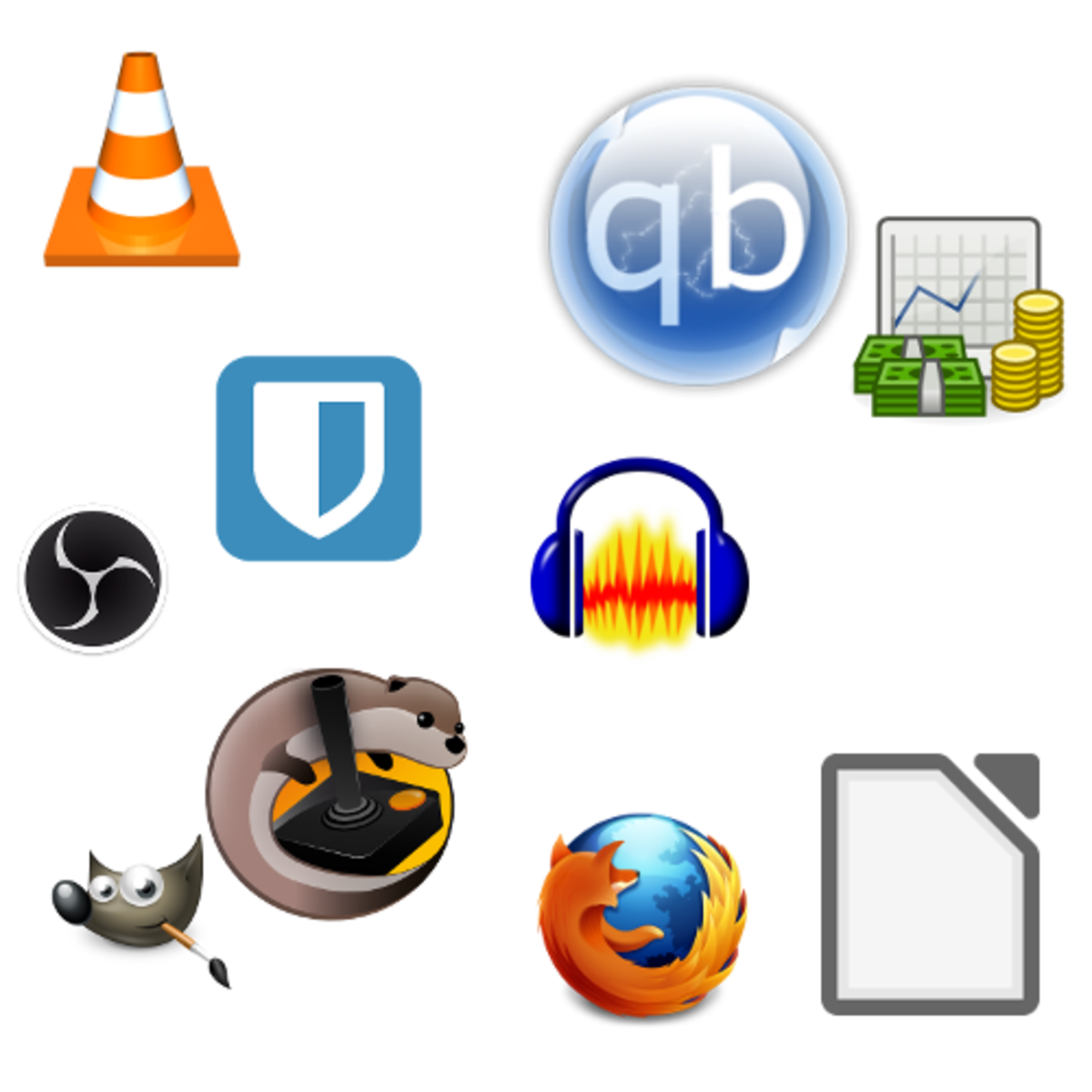 The icons of common open-source software.