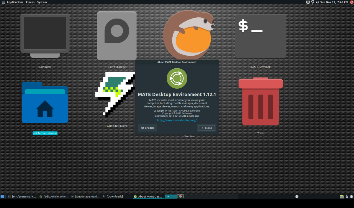 MATE desktop with the Adapata-Nokto theme and Papirus-Dark icons.