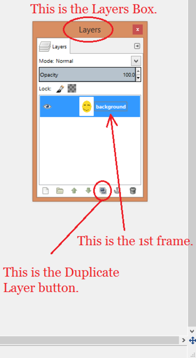 The Floating Layers Box and the Duplicate Layer button.