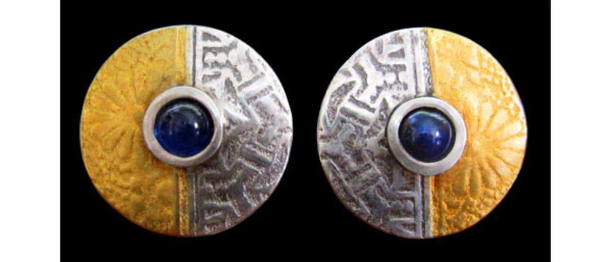 Fine silver earrings from PMC silver metal clay, set with lab sapphire cabochons and embellished with 24K gold keum-boo.