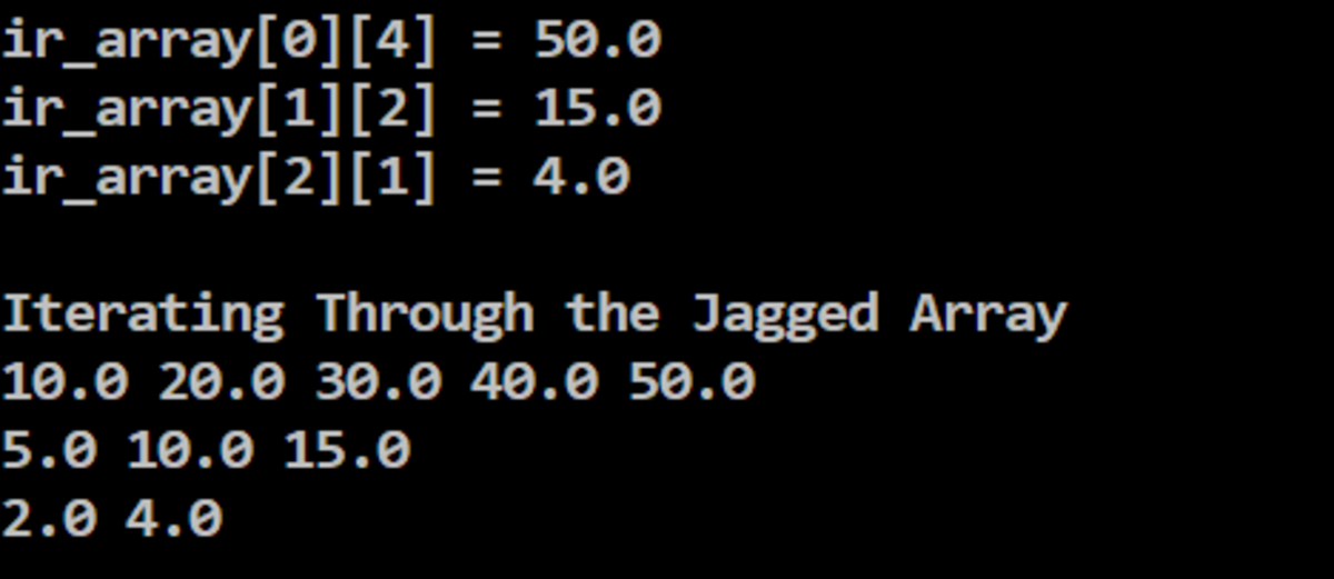 Ragged Array Example Output