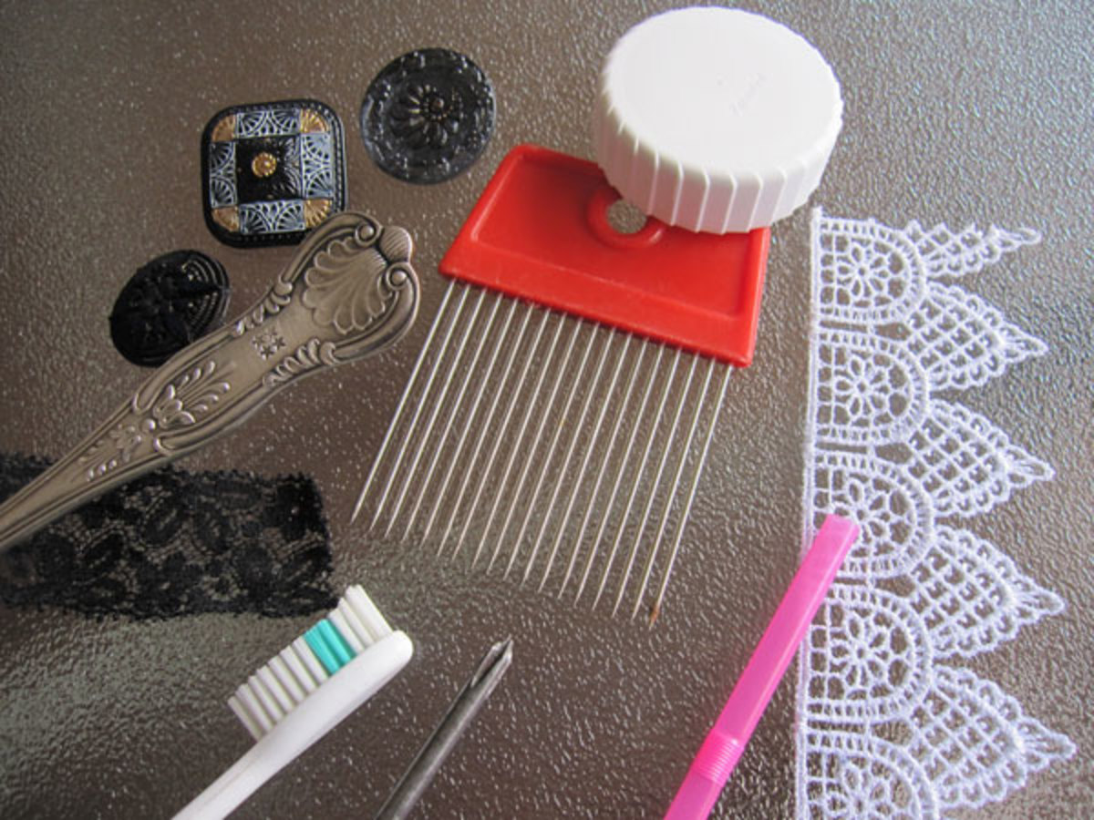 Examples of common household items and found objects used to texture clay.