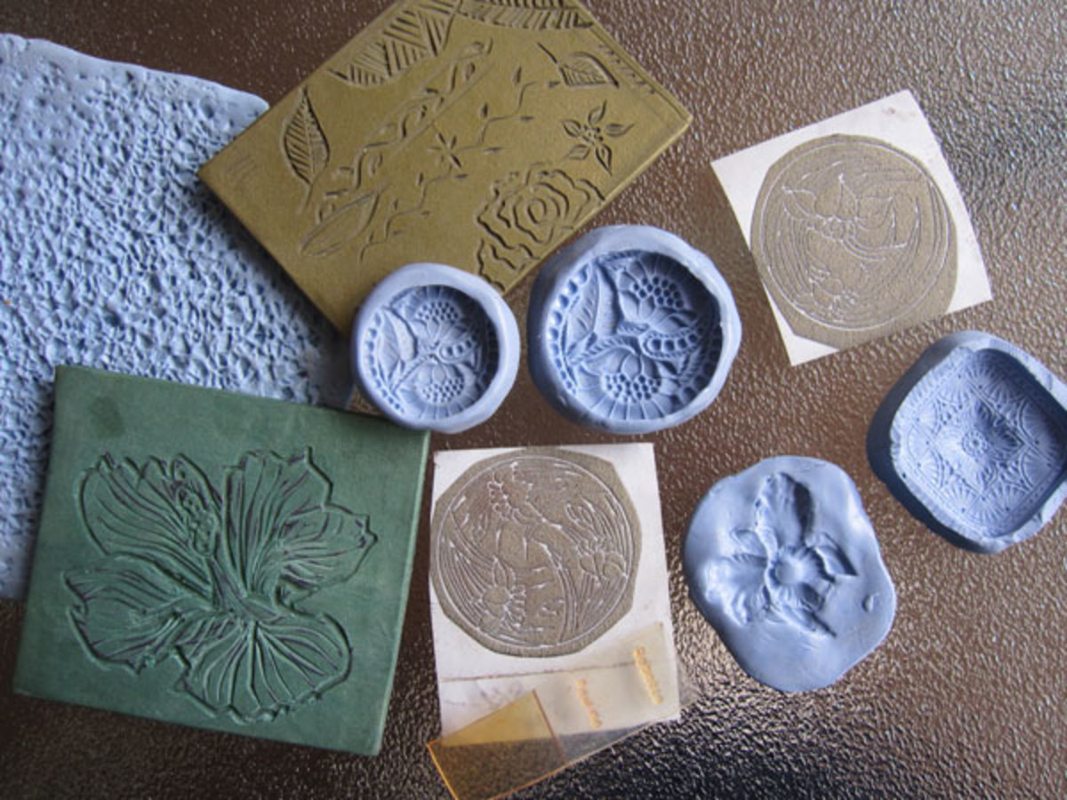 Flexible texture sheets and molds made silicone molding compound; carved cured polymer clay textures; tear-away texture papers; and small photopolymer plates.