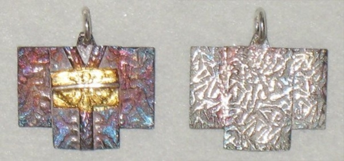 Fine silver and 24k gold (keum-boo) kimono charm with iridescent patina, textured with a combination of tear-away textures and texture mats. Front and back views shown side-by-side.