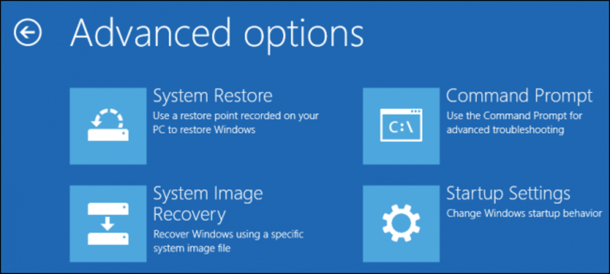To use System Restore select the top left icon in the Advanced options section of the boot menu.