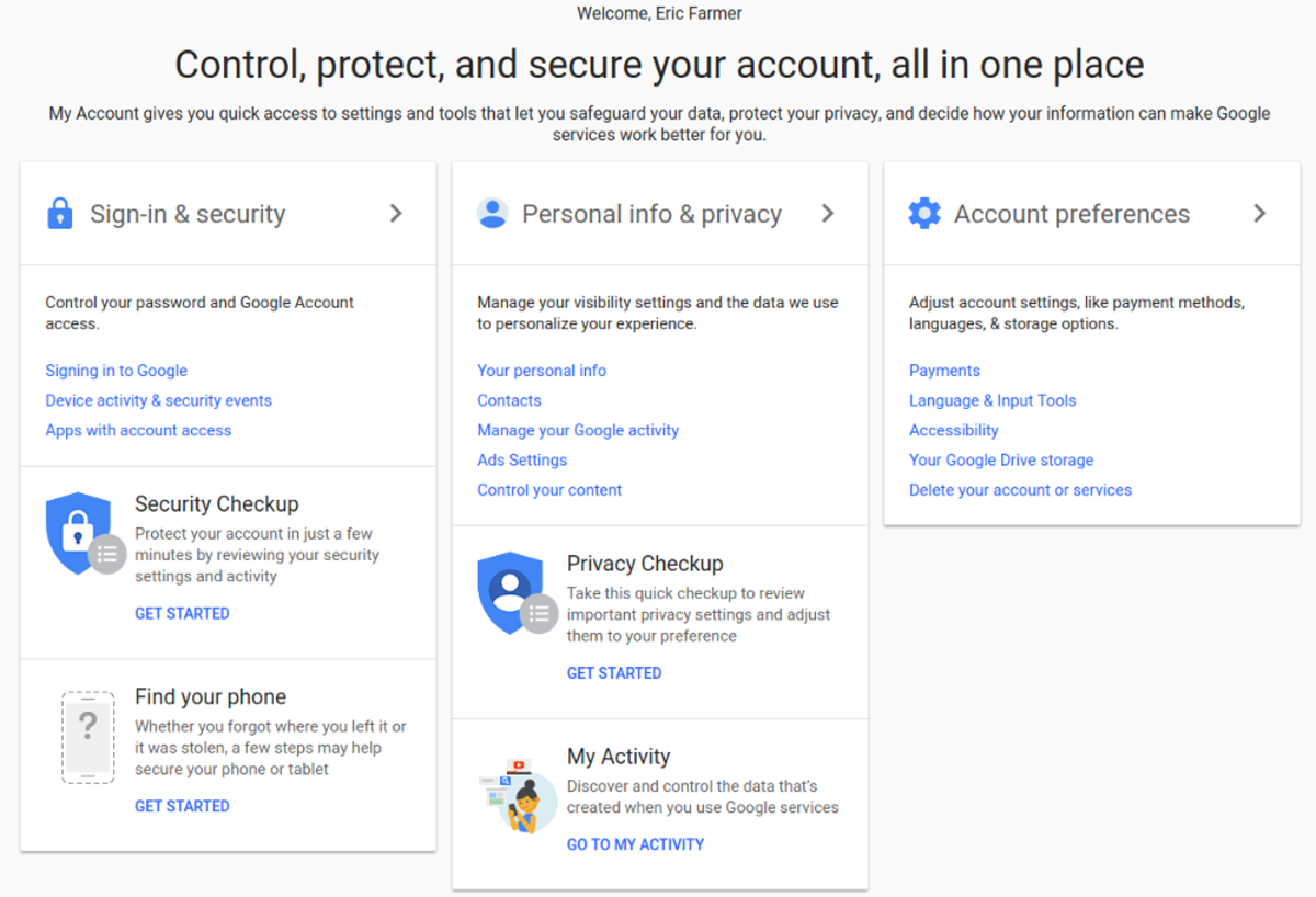 This is the my account screen for my Google account.