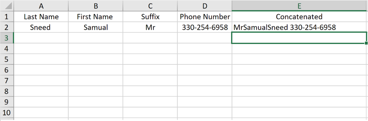 excel concat how to add quote marks
