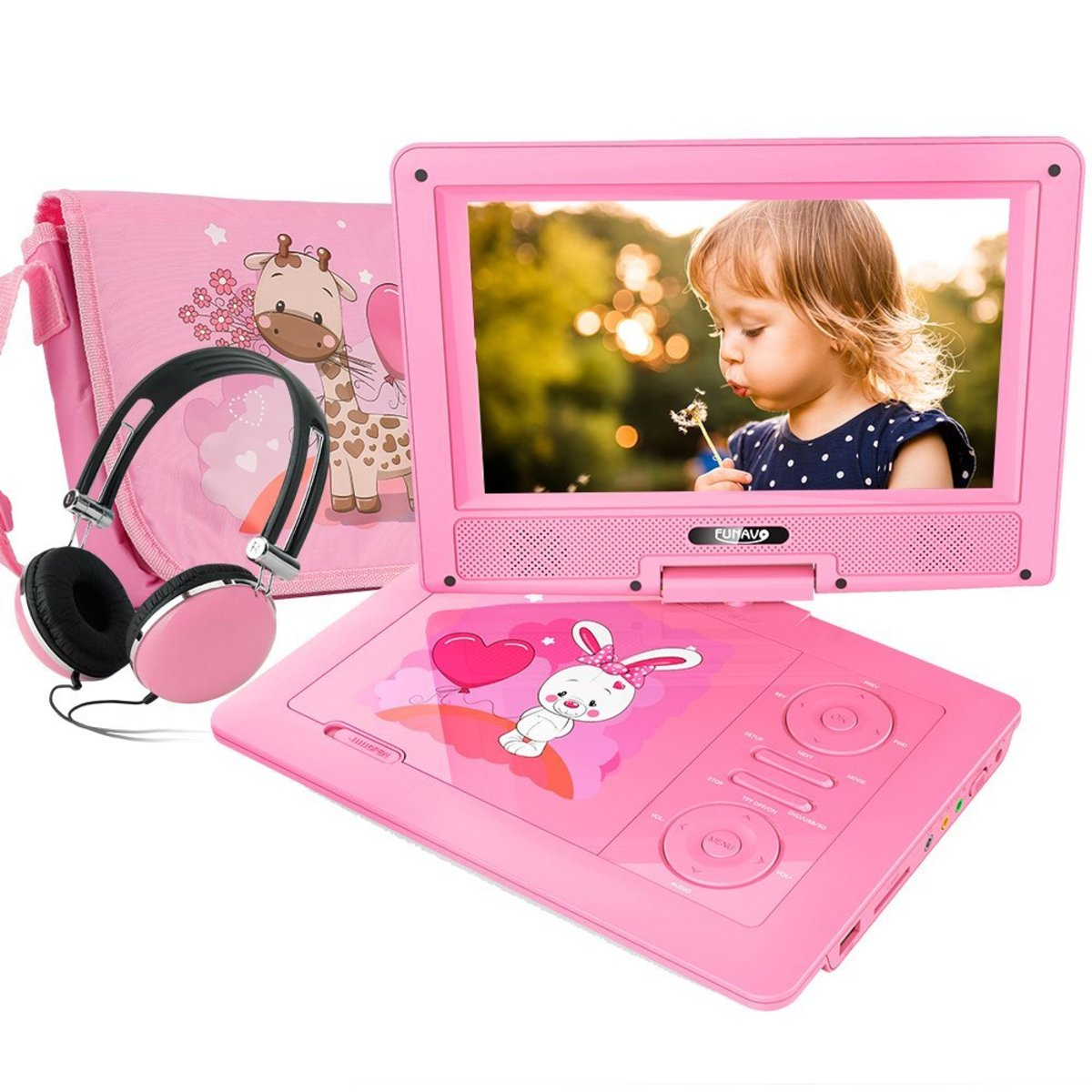 "The FUNAVO 9.5"". The FUNAVO was a great buy. The picture quality and audio are good, and it comes with matching headphones and carry case. The swivel screen is relatively large for a portable, and easy for my young daughter to use."