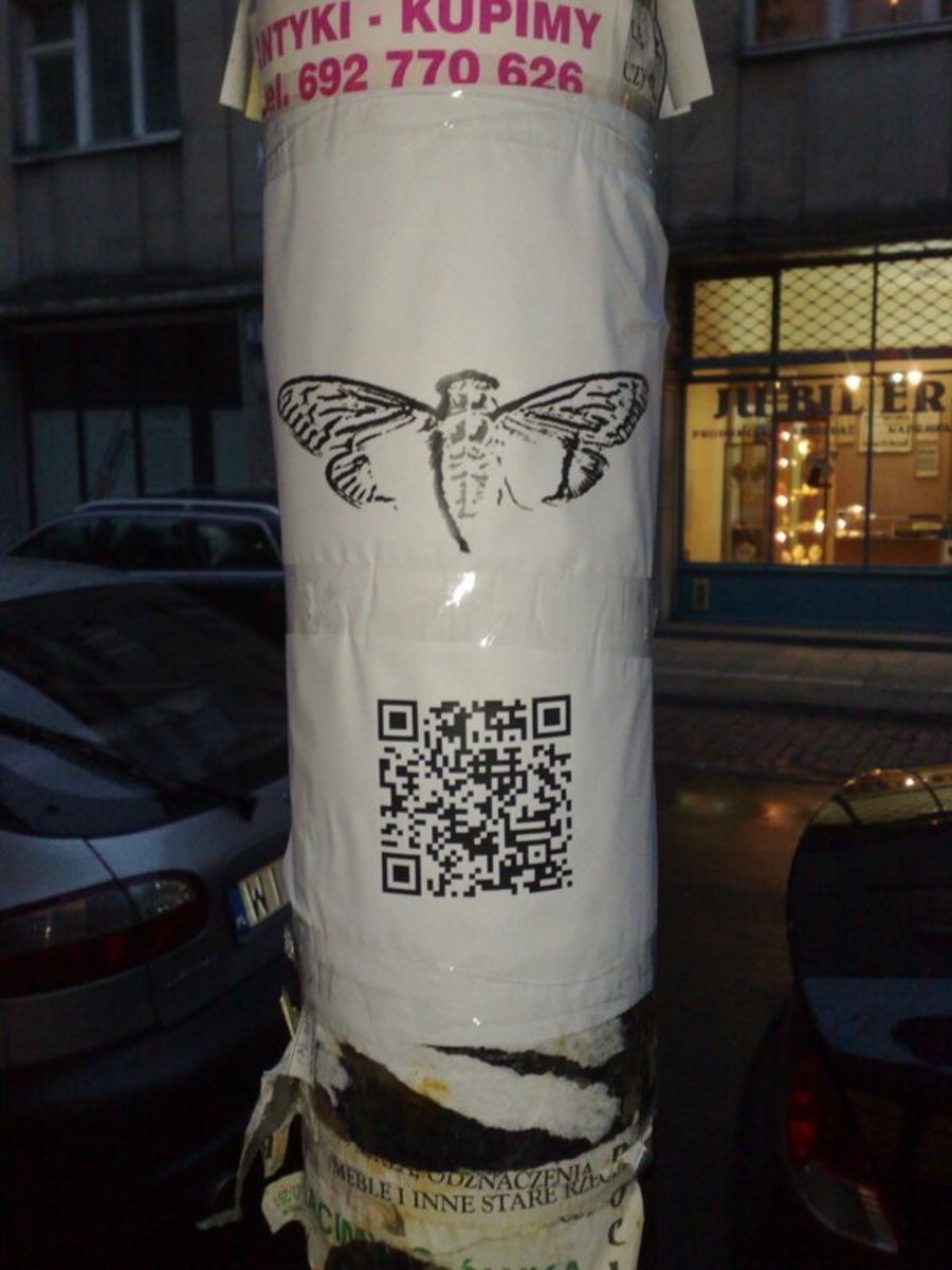 One of the physical clues. This one was located in Warsaw, Poland.