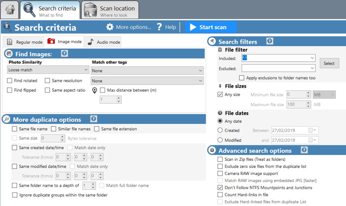 Duplucate Cleaner Pro Search Criteria Window