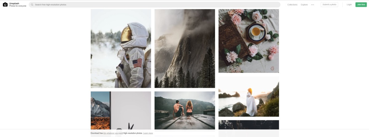 Unsplash offers a great eclectic selection of amazing free photos.