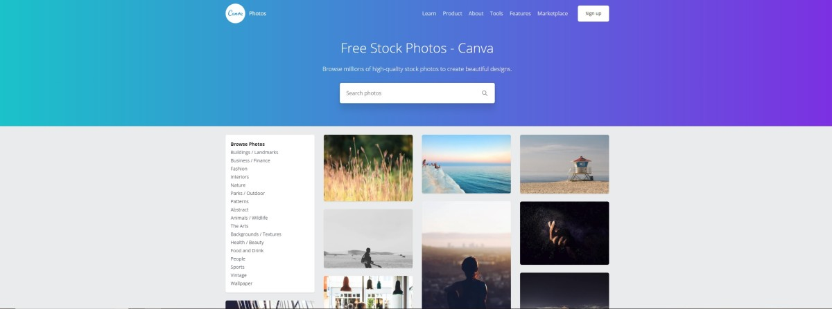 Canva offers millions of free photos.