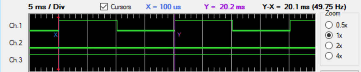 Logic analyzer trace showing interrupt being triggered every 20 ms and 10 ms second pulses through the interrupt function on RD0.
